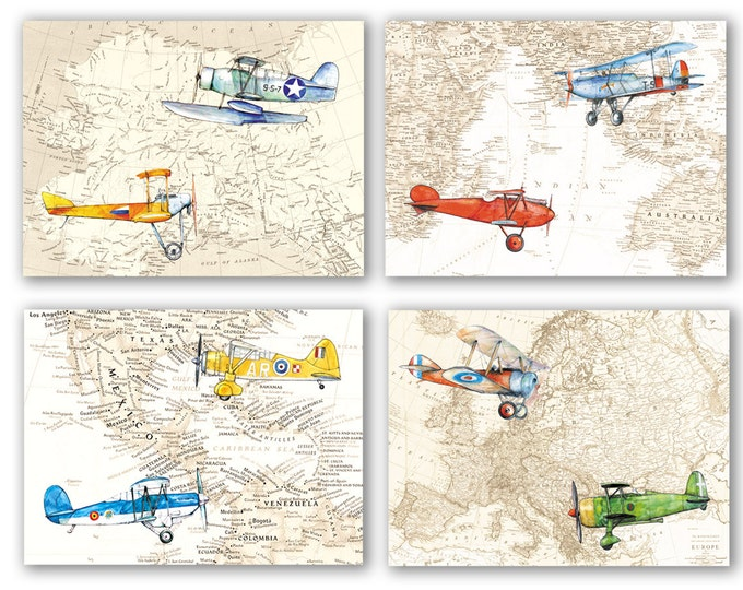 Airplanes Map decor Set 4 prints Aircraft Watercolor Old map poster Boys art World's map decor Aviation art Baby boy nursery wall art
