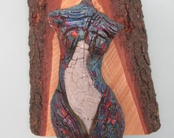 Wood dancer raku ceramic wall sculpture
