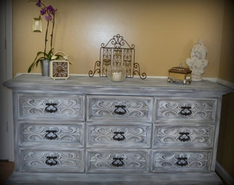 Hand-Painted Triple Dresser by DREXEL Buffet Credenza Console Server
