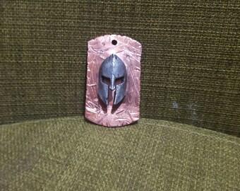 Battleworn copper tag w/ spartan helmet