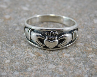 Mens Claddagh Ring Free Engraving Heavy Sterling Silver Promise