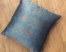 """Pretty silk teal and old gold cushion 17"""" square"""