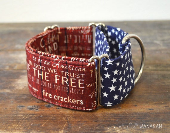 Martingale dog collar model Red Freedom. Adjustable and handmade with 100% cotton fabric. 4th of July, USA flag. Wakakan