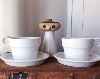 Vintage David Gil Cup & Saucer Set Pair Bennington Potters Cooperative Design Vermont Bowl Pottery American Mid Century