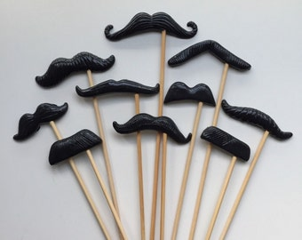 10PCS Polymar Clay All Black Moustraches Photo Props for Wedding/Party on sticks