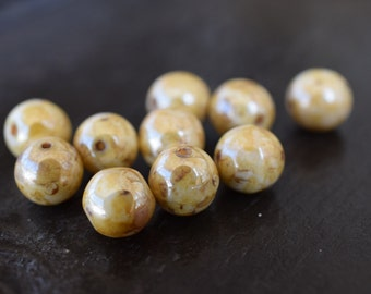Vintage Czech Glass Yellow Picasso Druk Round Beads, 6mm, 25 pieces