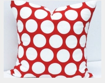 Red Polka Dot Down Feather 18 inch Pillow