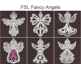 FSL Fancy Angels Free Standing Lace Machine Embroidery Designs Instant Download 4x4 hoop 10 designs SHE1743