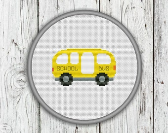 School Bus Counted Cross Stitch Pattern, Needlepoint Pattern - PDF, Instant Download