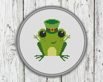 St. Patrick's Day Frog Counted Cross Stitch Pattern, St Patricks day, Frog Needlepoint Pattern - PDF, Instant Download
