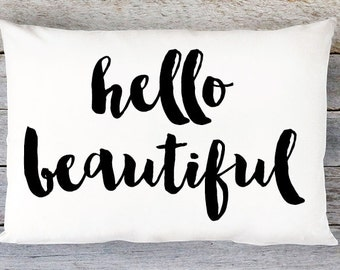 Hello Beautiful Throw Pillow Cover - Lumbar Pillow Cover - By Aldari Home