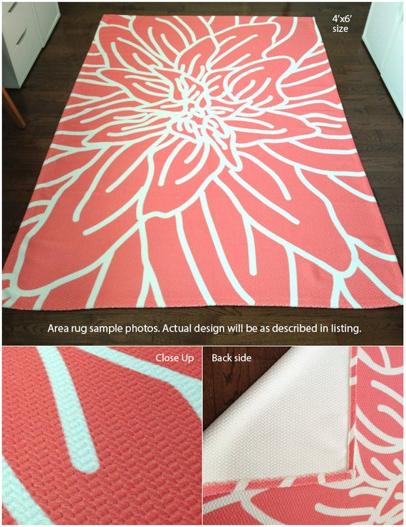 Rose Area Rug Modern Flower Rug Peach And White Pastel