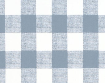 Buffalo Check Chambray Denim Blue Designer Plaid Fabric by the Yard  Drapery or Upholstery Fabric Light Blue & White Cotton Fabric B281