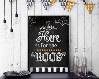 Halloween Bar Decor, Here for the Boos | Printable Halloween Decor