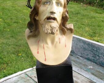Bust Jesus Christ Ceramic Statuette Chalk Crown Thorns Artwork Dupon Stunning