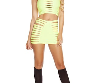 Rave Solid Strappy Skirt - Yellow
