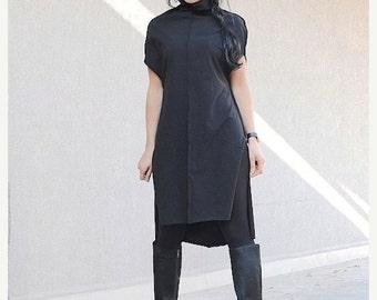 kurta dress, short kurta, kurta, cotton kurta, black kurta, long kurta, long kurta dress, long loose tunic, loose tunic dress, tunic