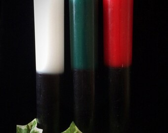 Double action candles,red,green,white and black