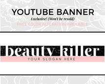 Beauty Vlog Banner   Youtube Logo   Pink Banner for Youtube   Social Media Graphics   Fashion Blogger   Branding Graphics Logo Template   B