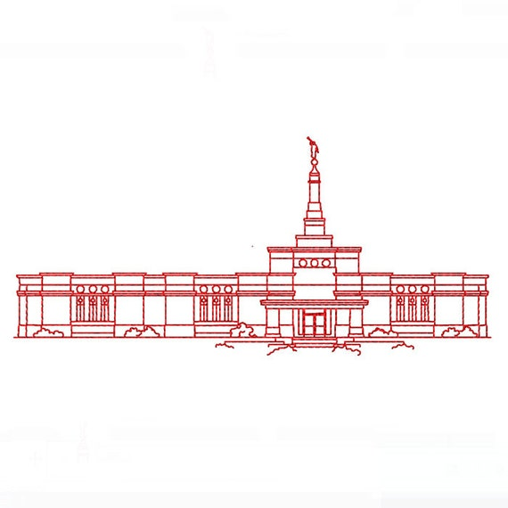 Line Drawing Etsy : Ciudad juárez mexico lds temple redwork embroidery design