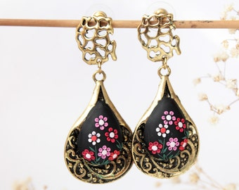 Red black earrings, black flower earrings, oversized, gothic earrings, black floral earrings, emroidered, christmas gift, romantic