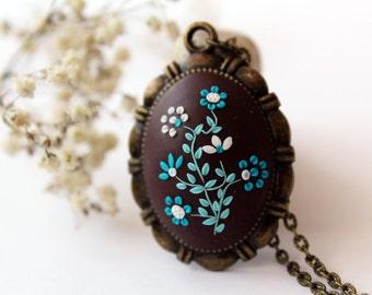 Blue and brown necklace, brown necklace, brown flower necklace, turquoise brown necklace, Brown Bridesmaid Necklace, teal blue necklace
