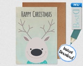 Happy christmas drawing deer greeting card,Digital winter holidays greeting card,Instant Download deer christmas card,digital rustic paper