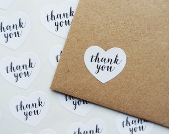 60 Small Heart White Thank You Stickers Labels Wedding Packaging Envelope Seals 1 inch Mini Heart Stickers / 241