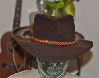 Vintage Estate Dark Brown Outback Trader Co Grizzly 1486 Cowboy Western Hat