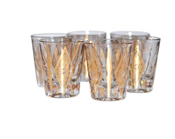 Vintage Estate Diamond Pattern 22kt Gold Design Shot Glass Set Mid Century Modern