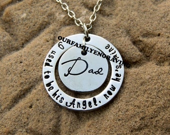 ON SALE Daddy dad loss memory I used to be his angel now hes mine necklace pendant keychain