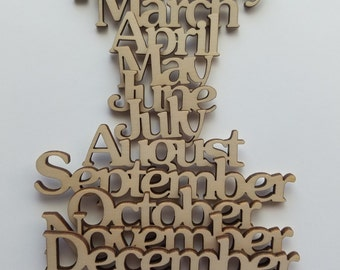 Wooden Months of The Year Calendar Cut Outs ( Home Decor, Wall Decor, Craft Projects, DIY)