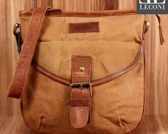 LECONI small shoulder bag shoulder bag lady bag of canvas leather cognac LE3048-C
