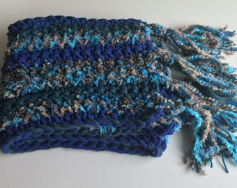 OCEAN/fringed crocheted scarf, blue, brown & green