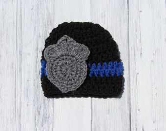 Baby Police Hat, Policeman Hat, Police Photo Prop, Baby Cop Hat, Crochet Baby Hat, Newborn Boy Hat, Newborn Photo Prop, Newborn Cop Hat