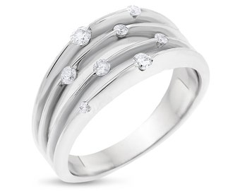 0.25 Carat Natural Scattered Diamond Multi-Row Ring In Solid 10k White Gold