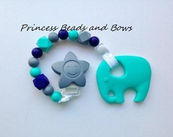 Turquoise Elephant Silicone Teething Toy with Pacifier Clip, Blue, Gray & Turquoise Silicone Teething Toy, Sensory Beads