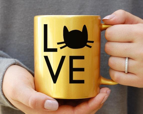 Gold Metallic Cat Mug, Crazy Cat Lady Mug, Cat Mug, Cat Mug, Gift For Cat Lady, Coffee Lover, Animal Mug, Cat Head, Its Not Drinking Alone