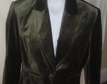 Army Green VELVET Blazer Size 8 by Worthington ~ PAISLEY Lined ~ Goth, STEAMPUNK, Victorian