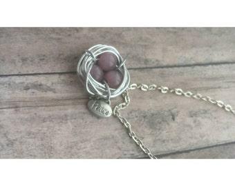 Purple birds nest, amethyst necklace, purple necklace, amethyst colored nest, birds nest necklace, birds necklace, silver nest necklace