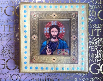 "Christ Pantocrator - Print of an original watercolor painting on a cedar wood block (5 1/4""L x 5 1/4""H x 1 1/2"" W) - mounted art print"