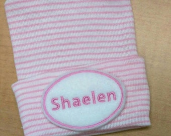Newborn Hospital Hat Monogramed with Name! For a BOY or GIRL! You Choose Hat and Applique Color. 1st Keepsake! Super Cute! Personalized!!