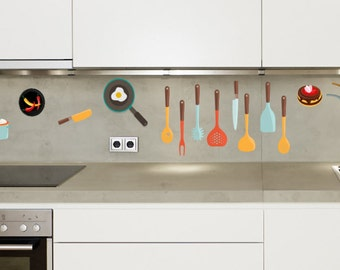 Kitchen Decor Wall decal, Kitchen Pots and Pans, Kitchen Utensils, Vegetables, Muffins, Donuts,