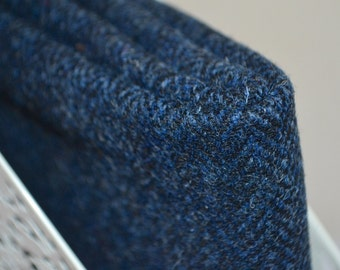 HARRIS TWEED FABRIC 100% pure virgin wool & authenticity labels blue herringbone various sizes