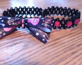 Black and pink rock star stretch headband