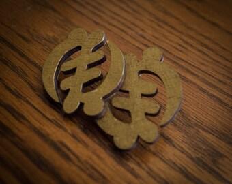 Gold Gye Nyame Wood Earrings