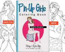 Adult coloring book nude vintage pinup girls, naked retro pin-up ladies adult coloring pages by SLS Lines, 14 page handmade book