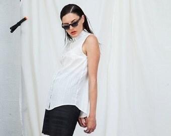 Christmas  in July SUMMER SALE , Women Top,Women Shirt,White Summer Shirt, Summer Blouse,Sleeveless Shirt,Buttoned Shirt