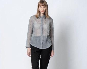 Christmas  in July On  Sale, Women Top. Gray Sheer Blouse, Long Sleeves Shirt, Buttoned Blouse, Long Sleeve Women Shirt
