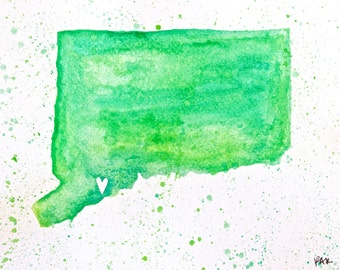"Fairfield, Connecticut Love Map in Bright Green, 8"" x 10"". Original Watercolor Painting on Watercolor Paper."